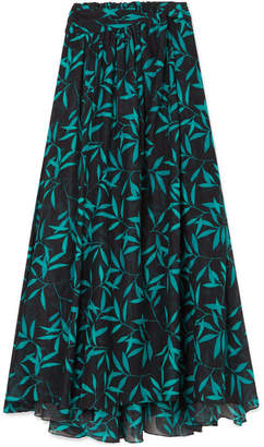 Caroline Constas Hera Printed Voile Maxi Skirt - Black
