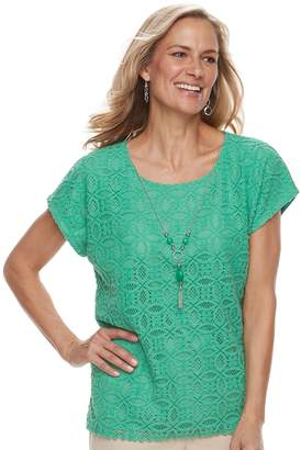 Alfred Dunner Petite Studio Lace Top