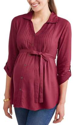 Oh! Mamma Maternity Collared Button Up Tie Waist Pleated Front Top - Available in Plus Sizes