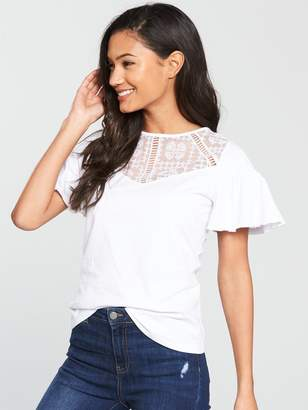 Very Lace Angel Sleeve Top - White