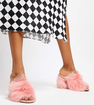 UGG Exclusive Rosa Pink Fluff Heeled Mules