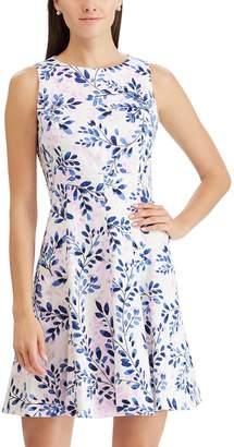 Chaps Women's Floral Jacquard Fit & Flare Dress
