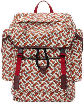 Burberry Red Medium Leather Trim Monogram Backpack