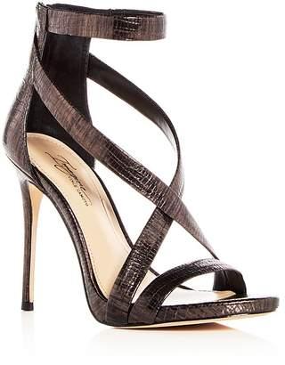 Imagine VINCE CAMUTO Women's Devin Lizard Embossed Leather Crisscross High Heel Sandals