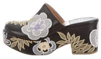 Laurence Dacade Leather Embroidered Platform Clogs