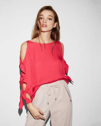 Express Cut-Out Tie Sleeve Blouse