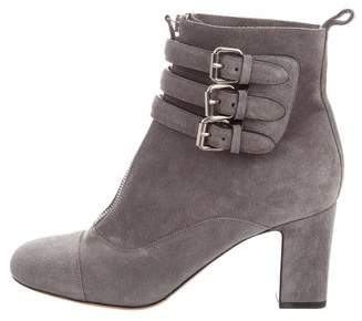 Tabitha Simmons Suede Buckle Ankle Boots