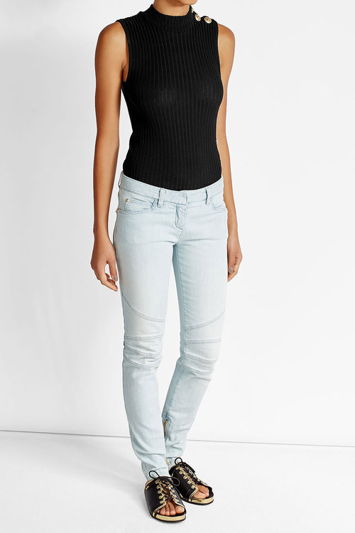 Balmain Ribbed Cotton Tank with Embossed Buttons