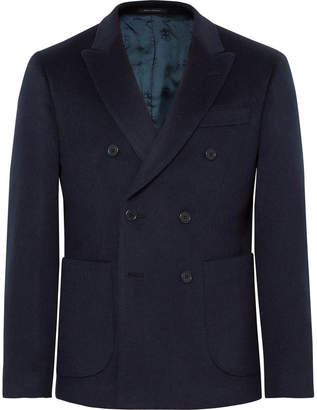 Noah Midnight-Blue Slim-Fit Double-Breasted Baby Camel Hair Blazer
