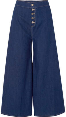 Paper London Kelly Cropped High-rise Wide-leg Jeans - Dark denim