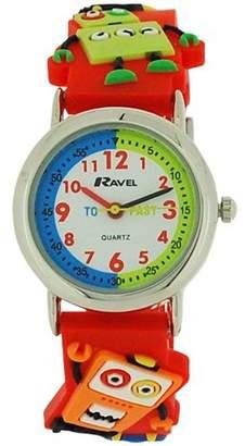 Ravel Funtime Boys 3D Robots Design Time Teacher Strap Watch R1513.61