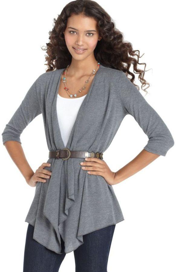 Love Change Sweater, Flutter Front Open Cardigan