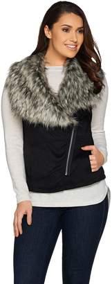 Lisa Rinna Collection Faux Suede Fur Collar Vest