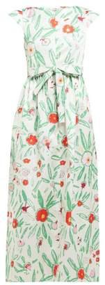 Vika Gazinskaya Belted Floral Print Satin Maxi Dress - Womens - Ivory Multi