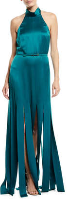 Escada Halter-Neck Sleeveless Silk Satin Evening Gown w/ Car Wash Hem