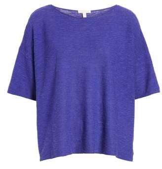Eileen Fisher Bateau Neck Linen & Cotton Box Top