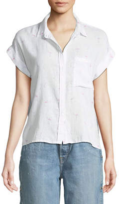 Rails Whitney Flamingoes Short-Sleeve Button-Down Top