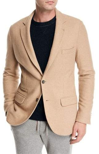 Loro Piana Camel Jersey Three-Button Blazer