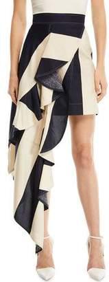 Calvin Klein Striped Asymmetric Ruffled-Frill Silk Skirt