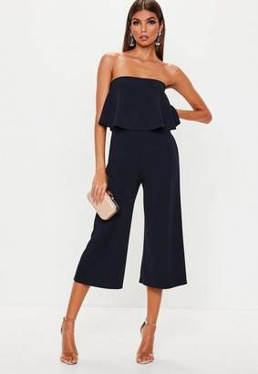Missguided Navy Double Layer Culotte Jumpsuit, Navy
