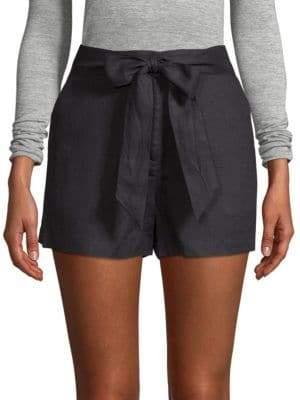Saks Fifth Avenue BLACK Tie-Waist Linen Shorts