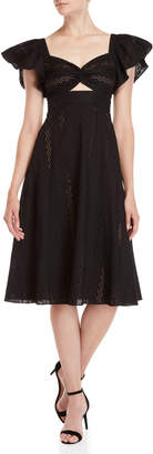 BCBGMAXAZRIA Black Twist Front Eyelet Dress