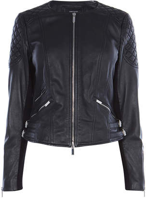 Karen Millen Collarless Leather Jacket
