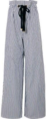 Mother of Pearl Striped Organic Cotton-poplin Wide-leg Pants - Navy
