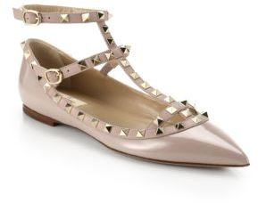 Valentino Rockstud Patent Leather Cage Flats $975 thestylecure.com