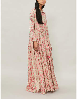 Osman Evaline embroidered linen maxi dress