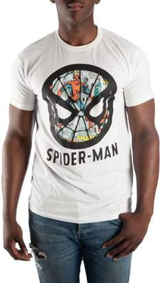 Spiderman Super Heroes & Villains Marvel Comics Men's Face T-shirt With Comic Book Background Print, up to Size 3XL