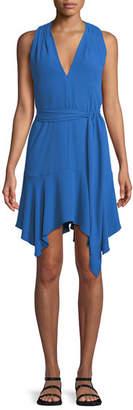 Halston Sleeveless V-Neck Dress with Sash