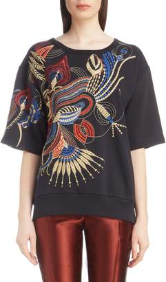 Dries Van Noten Fan Embroidered Sweatshirt