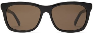 Gucci Web Striped D Frame Acetate Sunglasses - Mens - Black