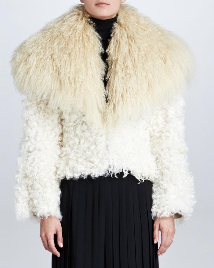 Ralph Lauren Kristina Shearling & Goat Fur Jacket, Cream