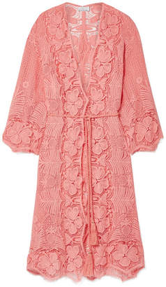 Miguelina Mia Crocheted Cotton-lace Robe - Coral