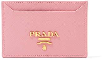 Prada Textured-leather Cardholder - Baby pink