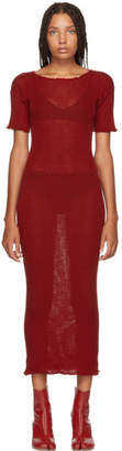 MM6 MAISON MARGIELA Red Fitted Thin Rib Dress
