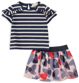 Kate Spade Girls' Striped Ruffle Top & Confetti Hearts Skirt Set