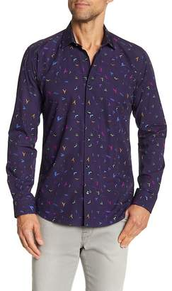 Jared Lang Bird Print Long Sleeve Shirt