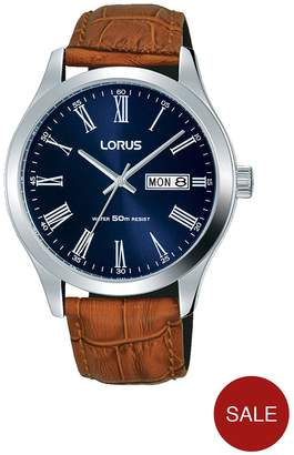 Blue Sunray DayDate Dial Brown Leather Strap Mens Watch