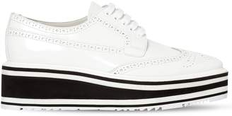 Prada 50mm Brushed Leather Wedge Lace-Up Shoes