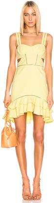 Jonathan Simkhai Seersucker Gingham Cutout Mini Dress in Neon Yellow & White | FWRD