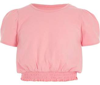 River Island Girls light pink shirred hem puff sleeve top