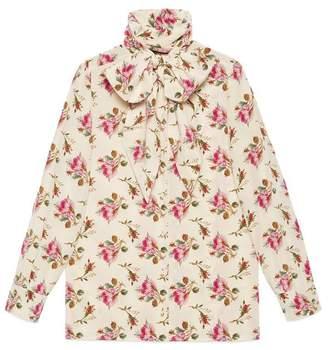 Gucci Rose print silk shirt