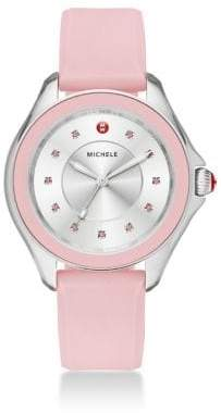 Michele Cape Topaz, Stainless Steel & Silicone Strap Watch
