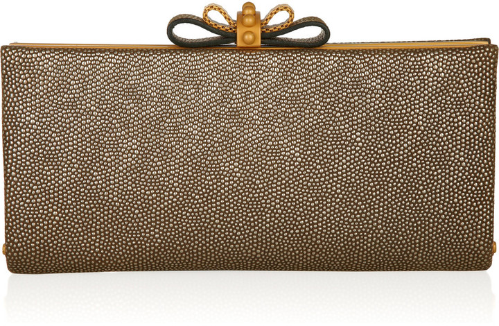 Christian Louboutin Cleo textured-leather clutch