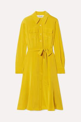 Diane von Furstenberg Antonette Belted Silk Crepe De Chine Dress - Marigold