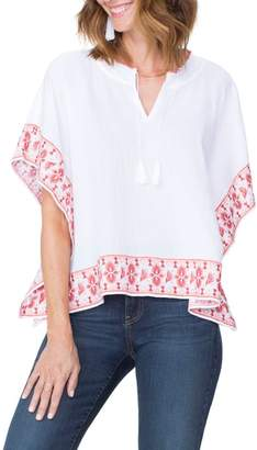 NYDJ Cascade Embroidery Popover Top