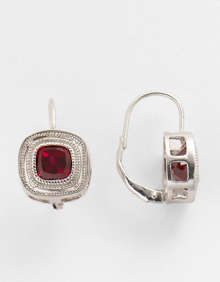 LORD & TAYLOR Sterling Silver & Created Ruby Earrings